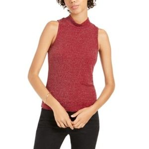 Planet Gold NWT Lurex Mock Neck Top Rhubarb Red